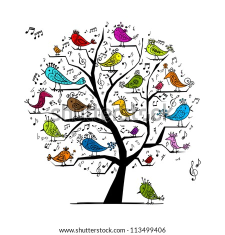 Funny tree with singing birds for your design - stock vector
