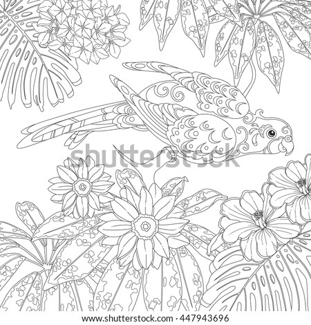 Funny Tropical Parrot Flowers And Leaves Page Of Coloring Book For Adults Children