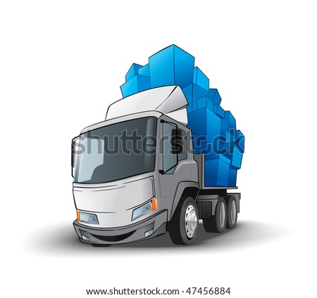 Funny truck whith gifts - stock vector