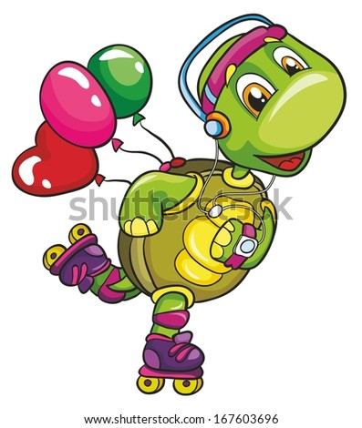 Funny turtle on roller skates on a white background, vector illustration - stock vector