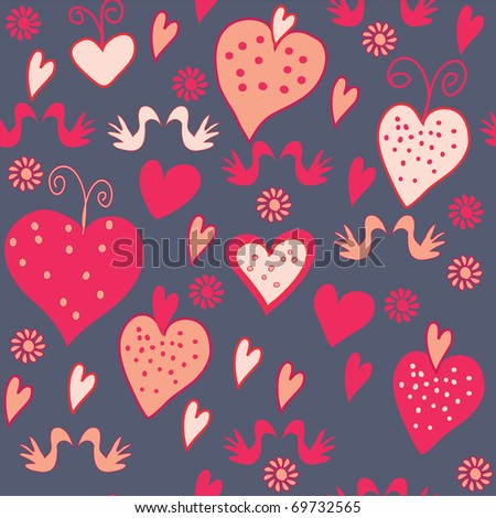 Funny valentine seamless pattern with hearts and birds