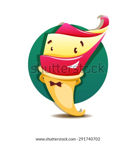 Funny vector cartoon ice cream - stock vector