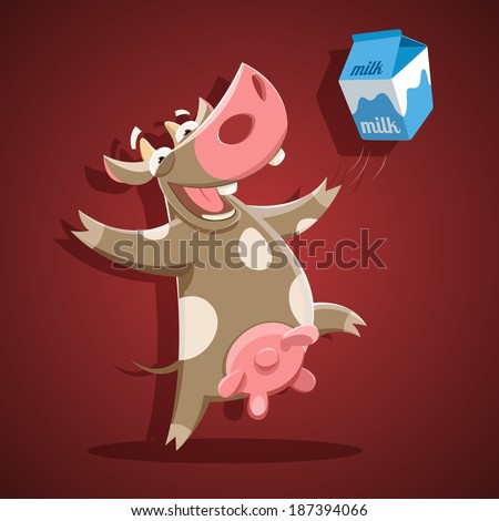 Funny vector cow with milk