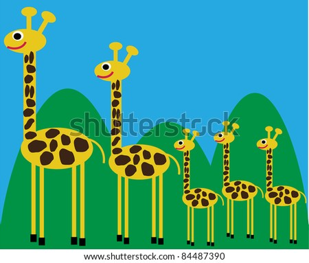 funny vector illustration of  giraffe family on walk in the country,creative computer graphic design with natural theme - stock vector