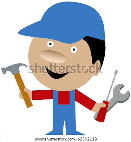 Funny vector illustration of smiling repairman, craftsman or handyman in uniform standing holding a hammer, screwdriver and wrench. - stock vector