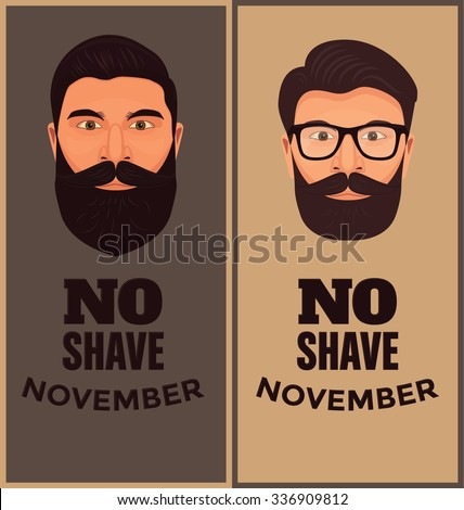 Funny vector illustration with beards in november - stock vector