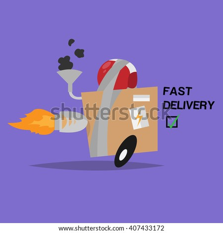 Funny vector isolated object. Box. Fast delivery - stock vector