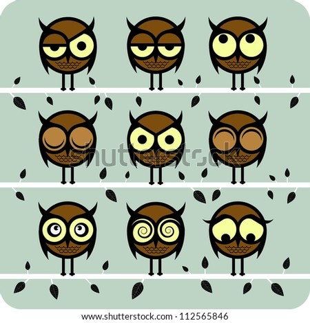 Funny Vector Owl Set - stock vector