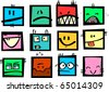 Funny vector rectangular emoticons. - stock vector