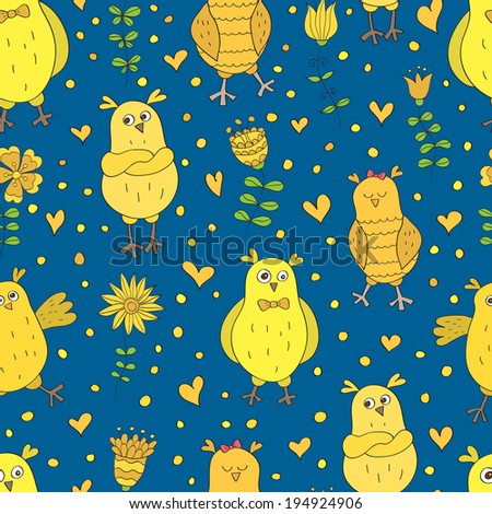 Funny vector seamless pattern. Cartoon yellow owls on blue background. Ideal for textile, wallpaper, wrapping. - stock vector