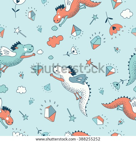 Funny vector seamless pattern. Cute hand drawn doodle design baby shower cards, brochures, invitations  with dragons, dinosaur, diamonds, flowers. Cartoon animals background. Child wallpaper  - stock vector