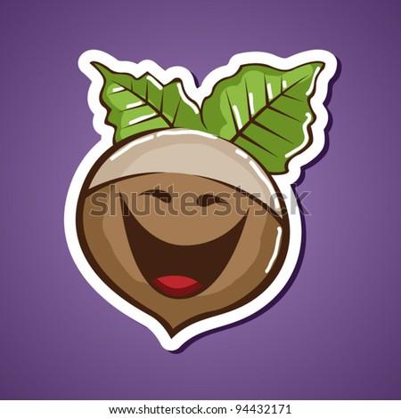 Funny vector walnut - stock vector