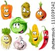 funny vegetable and spice cartoon isolated on white background - stock vector
