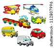 Funny vehicles. Cartoon and vector isolated characters. - stock photo
