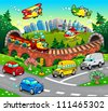 Funny vehicles in the city. Cartoon and vector illustration. - stock photo
