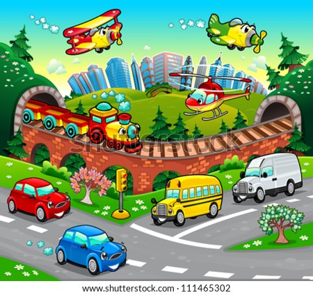 Funny vehicles in the city. Cartoon and vector illustration. - stock vector