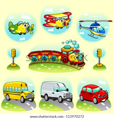 Funny vehicles with background. Cartoon and vector illustration. - stock vector