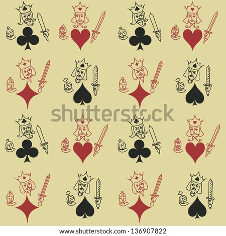 Funny vintage seamless pattern of Kings of playing cards - stock vector