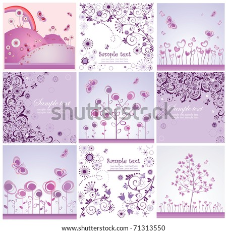 Funny violet cards - stock vector
