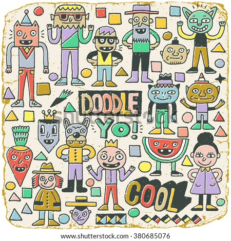 Funny Wacky Doodle Characters Set 21. Vintage Texture. Vector Illustration. - stock vector