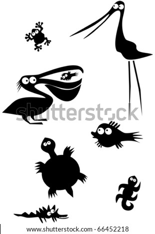Funny wading birds and fishes - stock vector