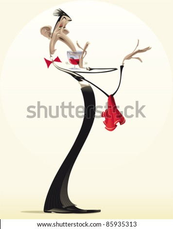 Funny waiter with red wine. Cartoon and vector illustration. - stock vector
