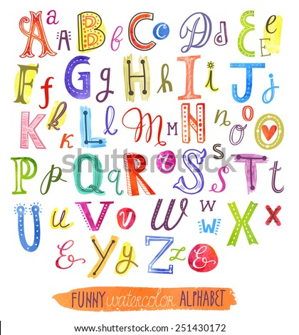Funny watercolor alphabet - stock vector