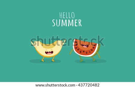 Funny Watermelon And Melon. Hello Summer. Use For Card, Poster, Banner,