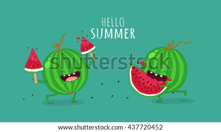Funny Watermelon Eating A Piece Of Watermelon. Hello Summer. Use For Card,  Poster