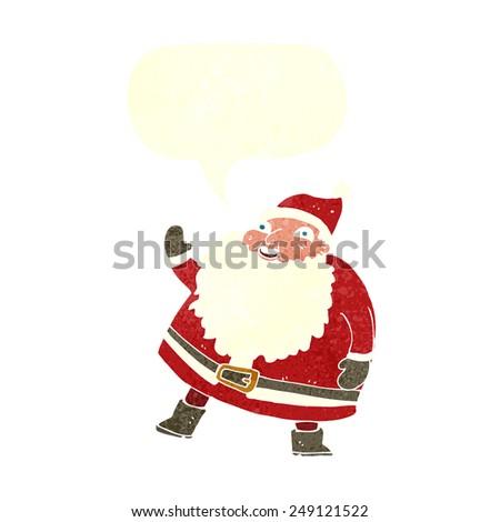 funny waving santa claus cartoon with speech bubble - stock vector