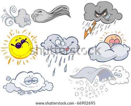Funny weather symbols. - stock vector