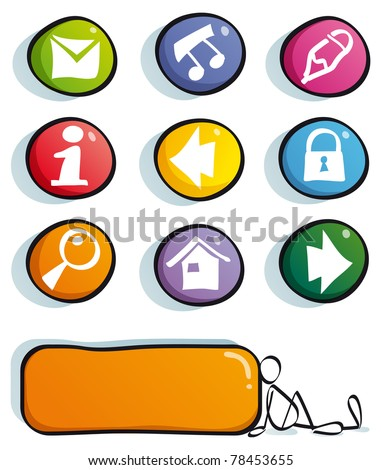 funny web buttons with icons for cute website: mail, frequently asked questions, information, home, find, net, Social Network - stock vector