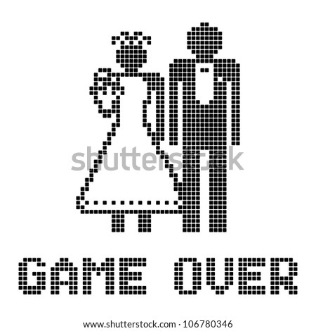 Funny wedding symbol - Game Over - stock vector