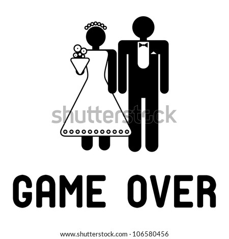 Funny wedding symbols - Game Over - stock vector