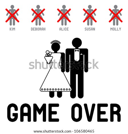 Funny Wedding Symbols Game Over Stock Vector Hd Royalty Free