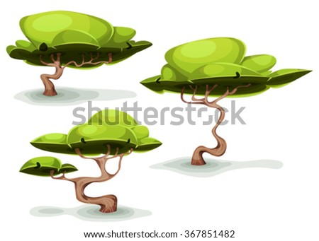 Funny Weird Trees For Fantasy Scenics/ Illustration of a set of cartoon funny weird forest trees and bonsai, for fantasy scenics and game ui scenics - stock vector