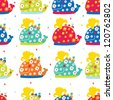 Funny whales, children's seamless pattern. - stock