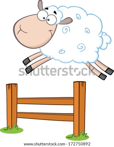 Funny White Sheep Jumping Over The Fence. Vector Illustration Isolated on white - stock vector