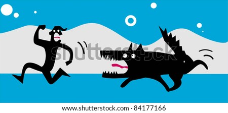 Funny wolf chases a frightened man - stock vector