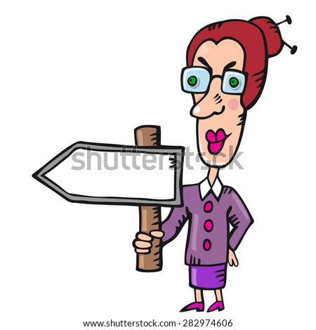 Funny woman teacher with blank pointer in hand - stock vector