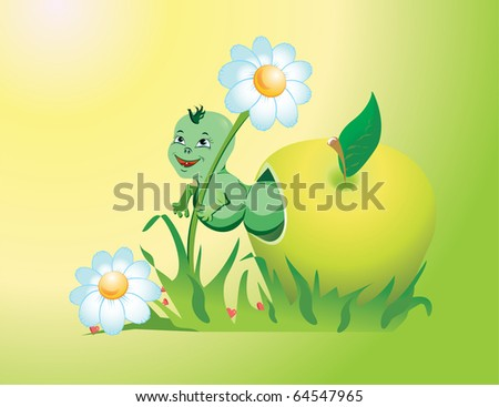 funny worm climbs out of an apple and holding a daisy. Vector.
