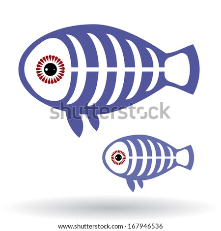 Funny X-ray fish on a white background. vector - stock vector