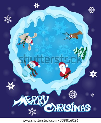 Funny xmas party: Santa, Bunny, Deer and Snowman on the snow hills at xmas night. Vector illustration - stock vector