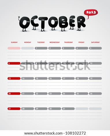 Funny year 2013 vector calendar October - stock vector