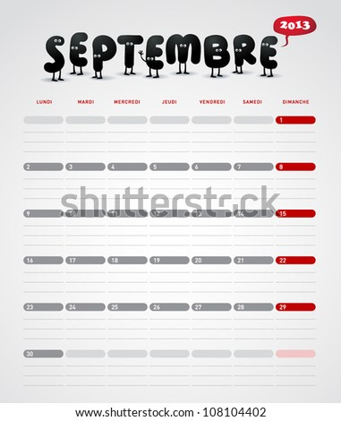 Funny year 2013 vector calendar September -  In French. - stock vector