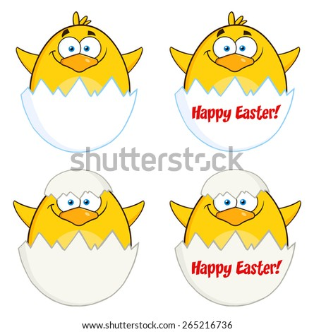 Funny Yellow Chick Cartoon Character Different Poses 6. Vector Collection Set Isolated On White