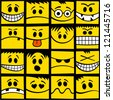 Funny yellow emotions seamless pattern. - stock vector