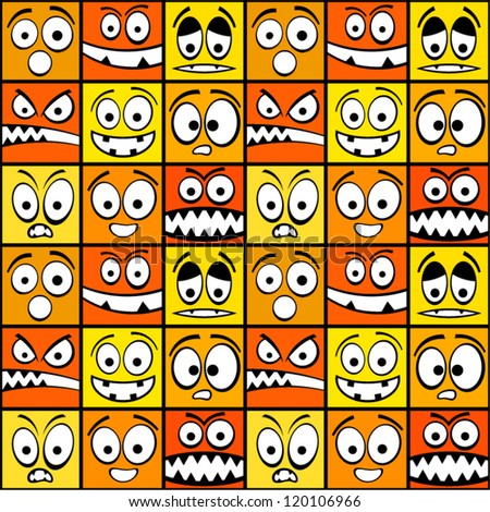 Funny yellow emotions seamless pattern.
