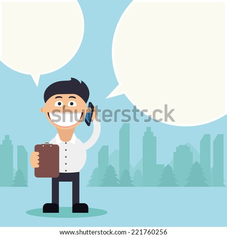 Funny young business man talking on mobile with bubble speech and holding tablet in front of him. City on background. Flat cartoon vector design. EPS10.  - stock vector
