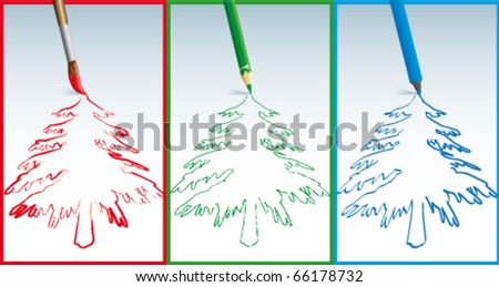 Fur-tree drawing - stock vector